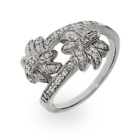 Tiffany Inspired Diamond CZ Palm Tree Ring