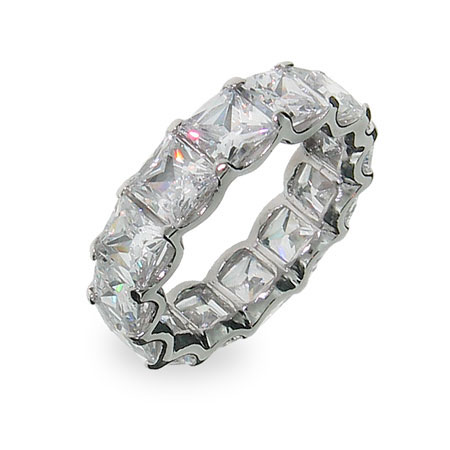 Princess Diana Inspired Baguette CZ Stackable Silver Band