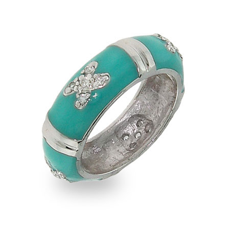 Sterling Silver Bar and X Turquoise Blue Enamel Stackable Ring