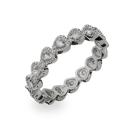Sterling Silver Stackable CZ Bezel Heart Eternity Ring