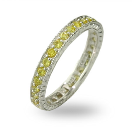 Victorian Style Sterling Silver Canary CZ Stackable Band