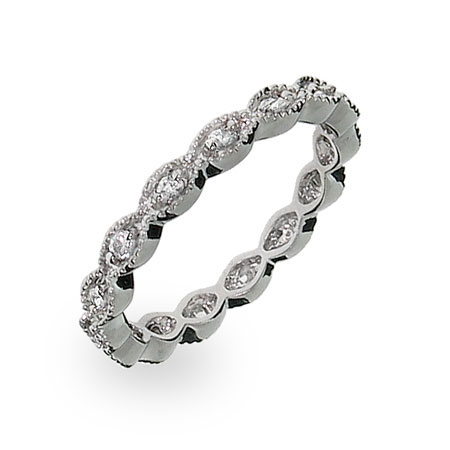 Beautiful Victorian Sterling Silver Stackable CZ Band