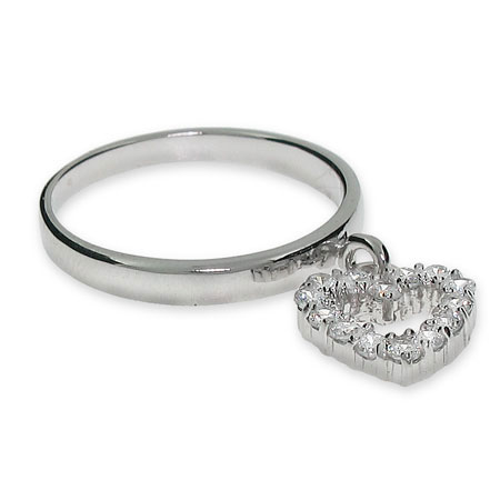 Sterling Silver CZ Dangle Heart Ring
