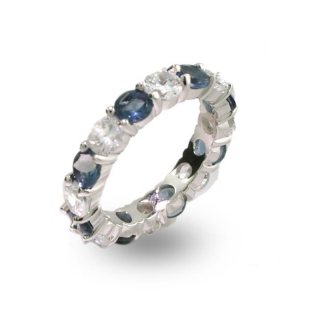 Selma's Sapphire and Clear CZ Silver Eternity Ring