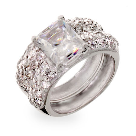 Scott Kay Inspired Emerald Cut CZ Sterling Silver Wedding Ring Set