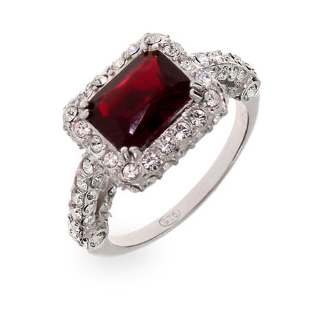 Katherine's Romantic Ruby CZ Sterling Silver Cocktail Ring