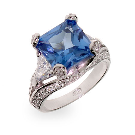 Princess Cut Blue CZ Vintage Style Sterling Silver Cocktail Ring
