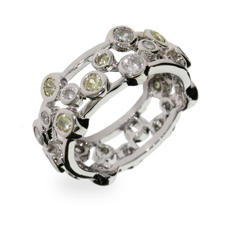Tiffany Inspired Peridot Bubbles Sterling Silver Ring
