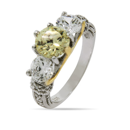 Sabrina's Two Tone Canary and Diamond CZ Engagement Ring