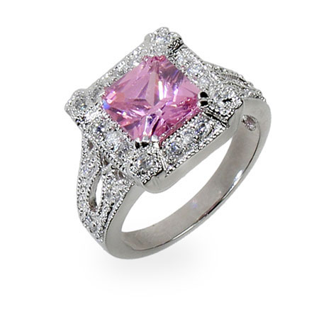 Whitney's Princess Cut Pink CZ Silver Cocktail Ring