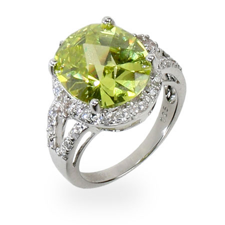 Melinda's Apple Green CZ Sparkling Cocktail Ring