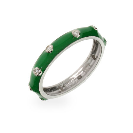 Samantha's Lucky Green Enamel Stackable Ring