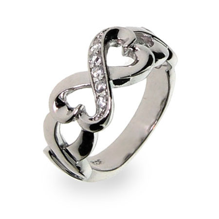 Sterling Silver Infinity Hearts CZ Ring