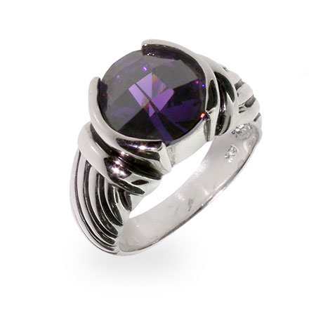 Designer Inspired Round Cut Amethyst CZ Cable Ring