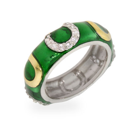 Designer Inspired Lucky Green Enamel Horseshoe Ring