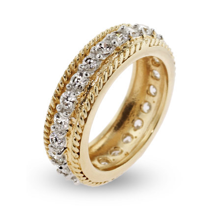 Gold Vermeil CZ Band with Braided Edges