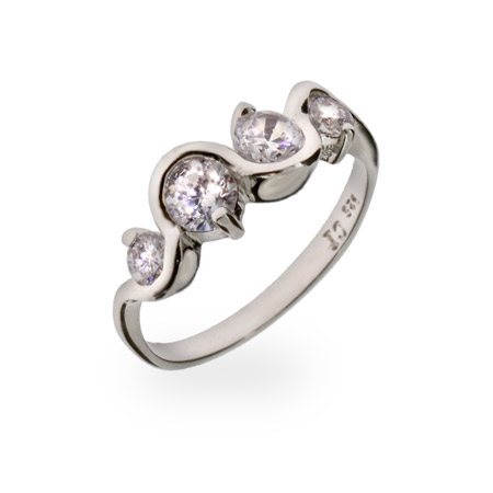 Journey Swirl CZ Sterling Silver Ring