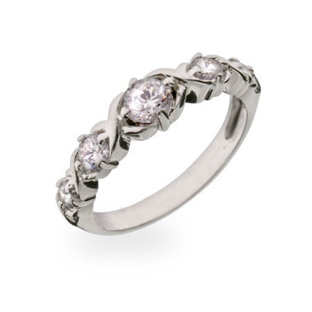 Sparkling Diamond Cut CZ Sterling Silver Journey Ring
