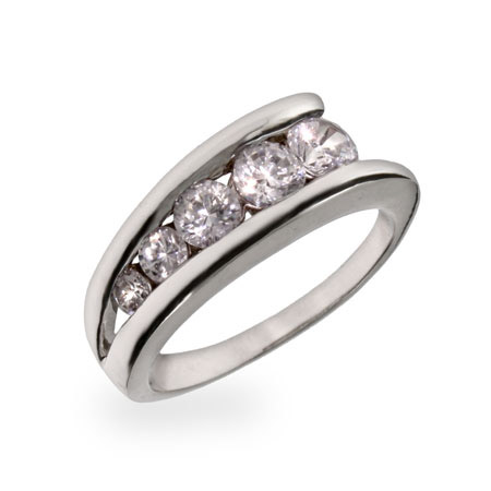 Sterling Silver CZ Ladder Style Journey Ring