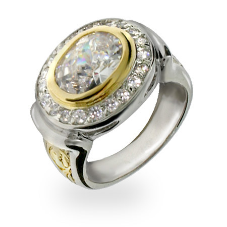 DesignerStyle Etched Gold Oval CZ Sterling Silver Ring