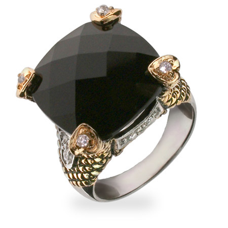Designer Inspired Black Onyx Ring with Heart Edging