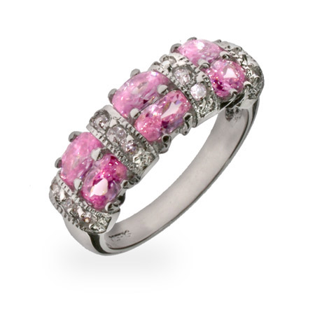 Tara's Sparkling Pink and Diamond CZ Sterling Silver Ring