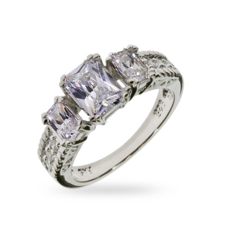 Beth O Replica Sterling Silver CZ Engagement Ring