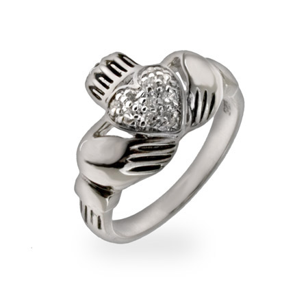 Shannon's Pave CZ Heart Sterling Silver Claddagh Ring