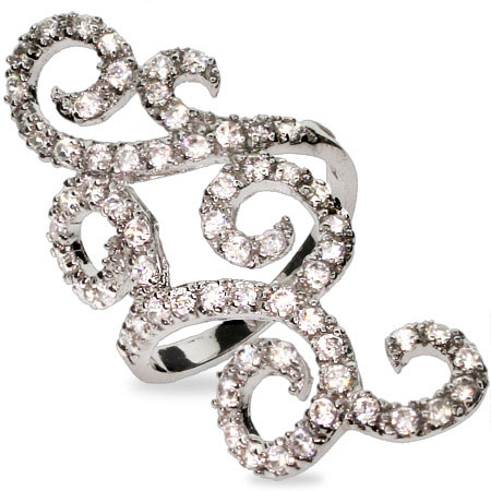 Elegant CZ Scrollwork Sterling Silver Cocktail Ring