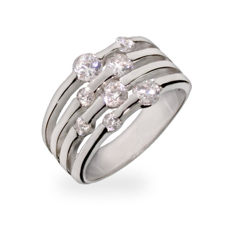 Crystal's Four Row Scattered CZ Sterling Silver Ring