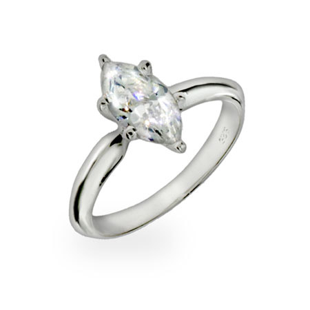 Diamond Marquis Cut Solitaire CZ Sterling Silver Ring