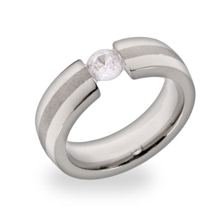 Floating Brilliant Cut CZ Stainless Steel Ring