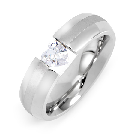 EvesAddiction.com Floating CZ Heart Stainless Steel Ring at Sears.com