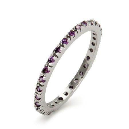 Amethyst CZ Sterling Silver Stackable Eternity Band
