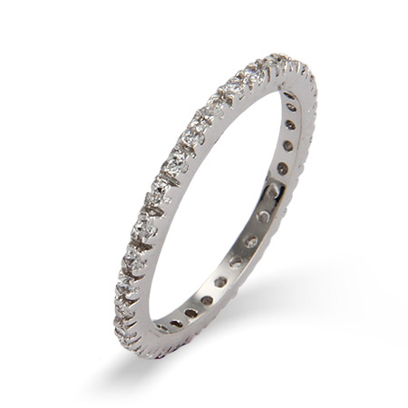 Diamond CZ Sterling Silver Stackable Eternity Band