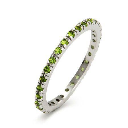Peridot CZ Sterling Silver Stackable Eternity Band