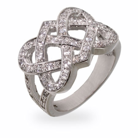 Sparkling CZ Celtic Knot Sterling Silver Ring