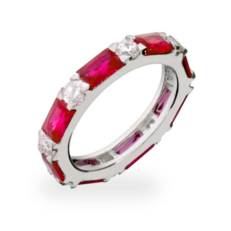 Garnet and Diamond CZ Stackable Eternity Band