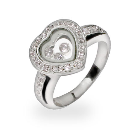 Chopard Inspired Floating CZs Sterling Silver Heart Ring