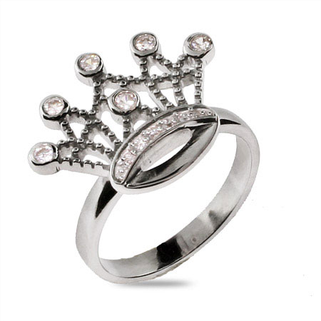 EvesAddiction.com Sterling Silver CZ Princess Crown Ring - Clearance Final Sale at Sears.com