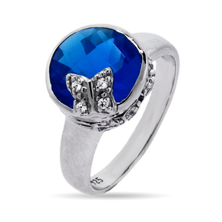 Sterling Silver and Blue CZ Butterfly Ring