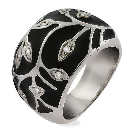 Sterling Silver Vine Design Black Enamel Ring