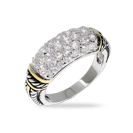 Designer Style Silver Bali Ring with Gold and Pave CZs