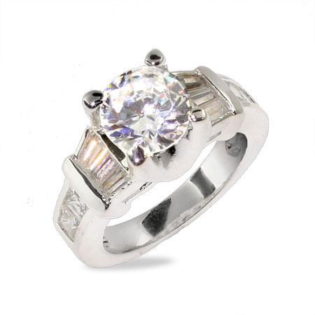 Glamorous Celebrity Style Sterling Silver CZ Engagement Ring