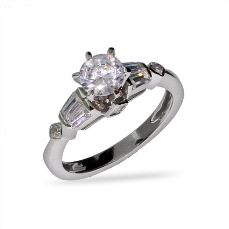 Kristin's Brilliant Cut Sterling Silver CZ Engagement Ring