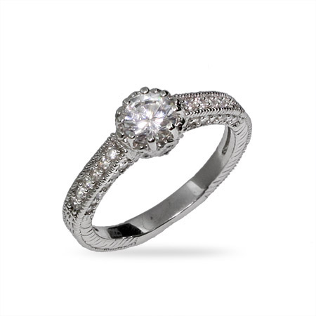 Beautiful Heirloom CZ and Sterling Silver Engagement Ring