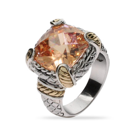 Designer Style Brilliant Cut Champagne CZ Gold Cabled Ring