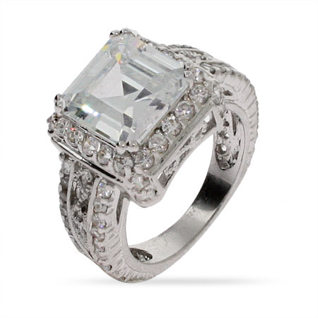Sterling Silver Dazzling Asscher Cut CZ Cocktail Ring