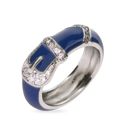 Designer Inspired Blue Enamel Belt Buckle Ring