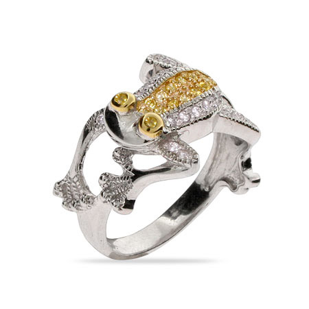 Designer Inspired Canary CZ Sparkling Frog Cocktail Ring